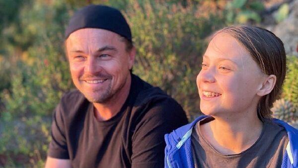 Leo DiCaprio con Greta Thunberg - Sputnik Mundo