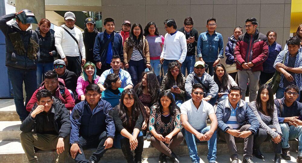 Actividad del Comité de Jóvenes por la Defensa del Proceso de Cambio reunidos en la ciudad de El Alto (Bolivia)