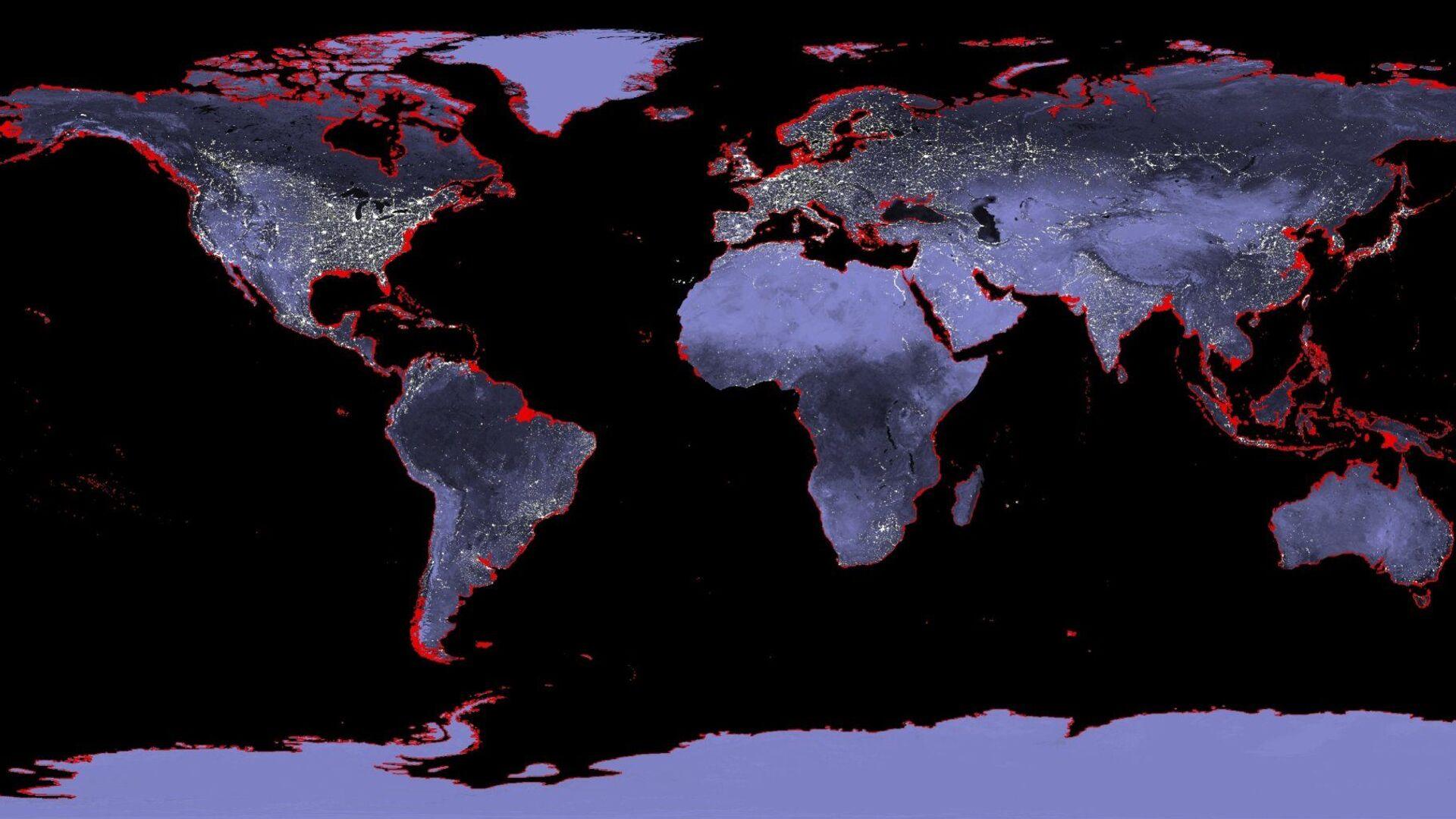 Mapa del mundo con una proyección de la subida del nivel del mar - Sputnik Mundo, 1920, 18.08.2021