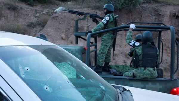 La Guardia Nacional mexicana en el lugar del masacre - Sputnik Mundo