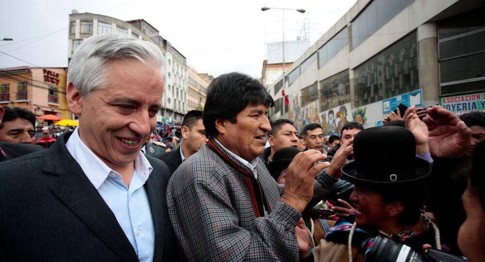 El vicepresidente boliviano Álvaro García Linera y el presidente de Bolivia, Evo Morales
