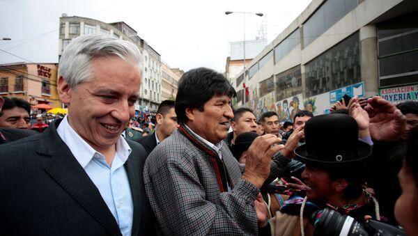 El vicepresidente boliviano Álvaro García Linera y el presidente de Bolivia, Evo Morales - Sputnik Mundo