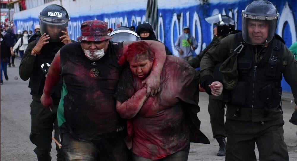 La alcaldesa de Vinto, Patricia Arce, tras sufir un brutal ataque por parte de manifestantes opositores a Evo Morales