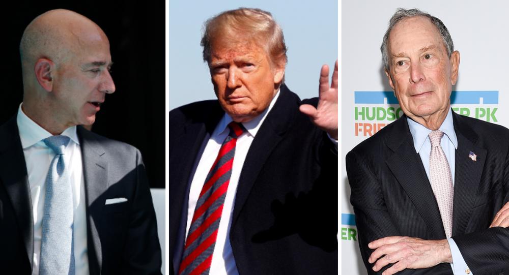 Jeff Bezos, Donald Trump y Mike Bloomberg
