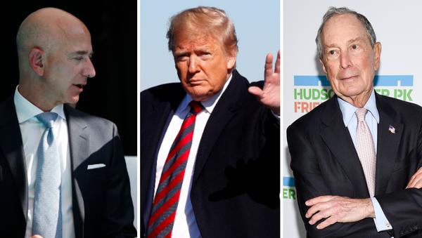 Jeff Bezos, Donald Trump y Mike Bloomberg - Sputnik Mundo