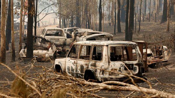 Coches quemados por los incendios forestales en Australia - Sputnik Mundo