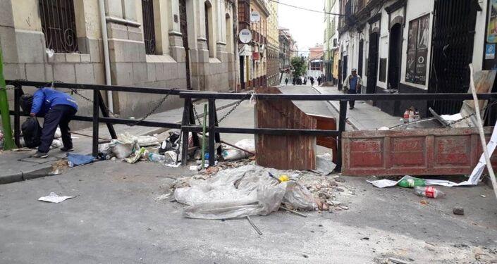 Una de las calles de La Paz al día siguiente de la renuncia de Evo Morales