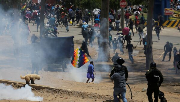 Campesinos cocaleros protestando en Cochabamba, Bolivia - Sputnik Mundo