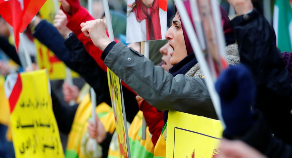 Una protesta en Berlín (Alemania) para apoyar a los manifestantes iraníes