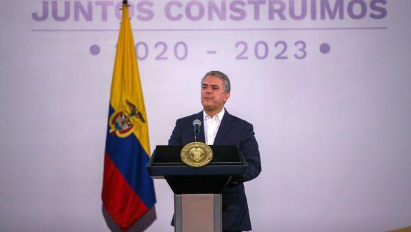El presidente de Colombia Iván Duque durante una conferencia en Bogotá - Sputnik Mundo