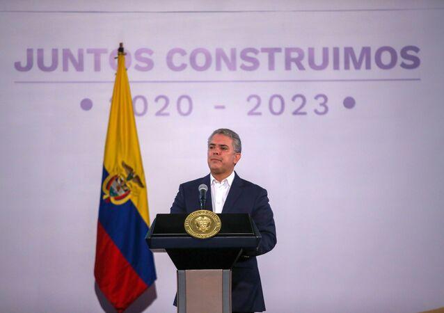 El presidente de Colombia Iván Duque durante una conferencia en Bogotá