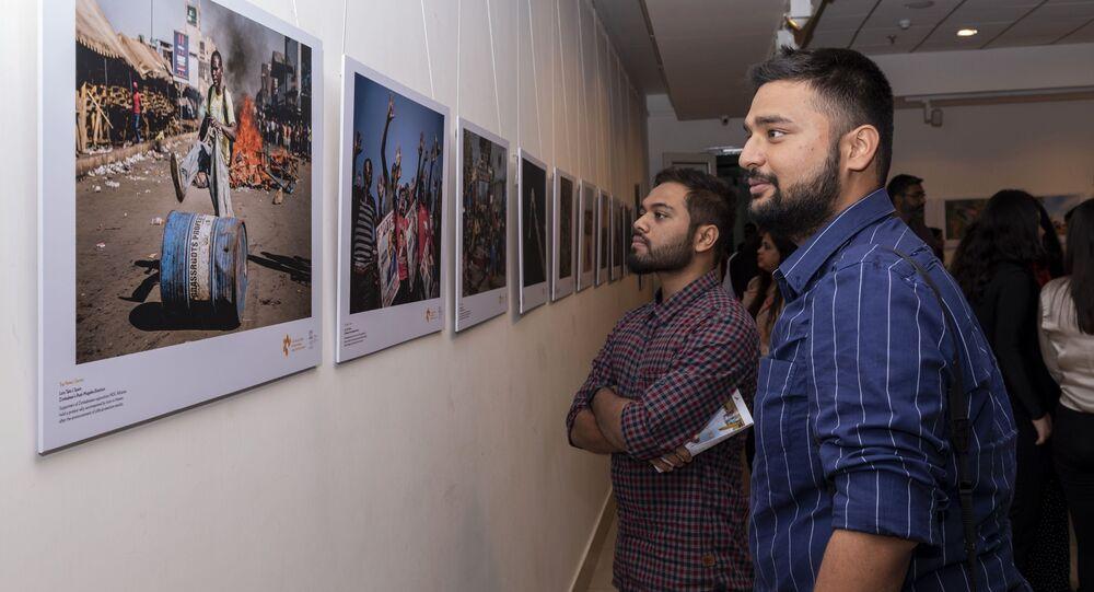 La inauguración de la exposición de fotos de ganadores del concurso Andréi Stenin 2019 en Nueva Delhi