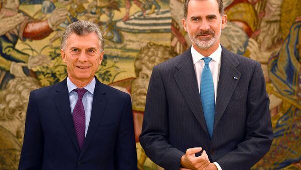 El presidente argentino, Mauricio Macri, y el rey de España, Felipe VI - Sputnik Mundo