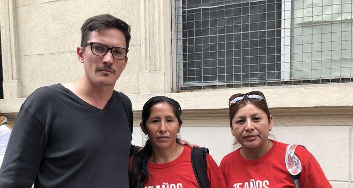 Tito Ferrari (izquierda), referente del Frente Popular Darío Santillán