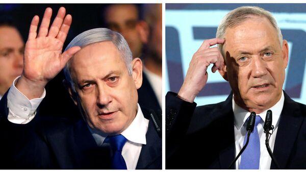 El primer ministro israelí en funciones, Benjamín Netanyahu, y el líder de la coalición Azul y Blanco, Benny Gantz - Sputnik Mundo