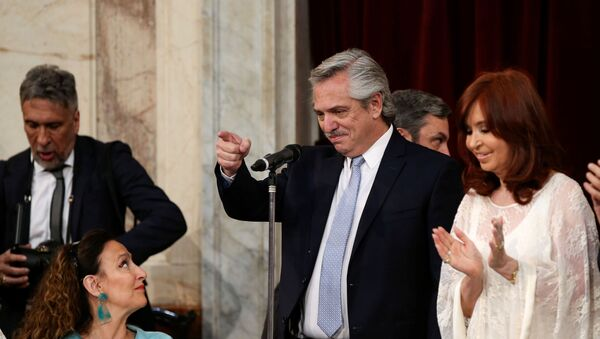 El presidente argentino, Alberto Fernández, junto a la vicepresidenta, Cristina Fernández de Kirchner - Sputnik Mundo