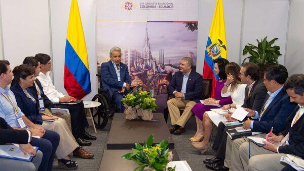 El presidente de Ecuador, Lenín Moreno, y el presidente de Colombia, Iván Duque - Sputnik Mundo