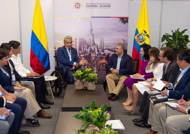 El presidente de Ecuador, Lenín Moreno, y el presidente de Colombia, Iván Duque