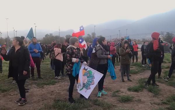 Toma simbólica de terrenos de Lo Hermida, comuna de Peñalolén, Santiago de Chile, el 11 de noviembre - Sputnik Mundo