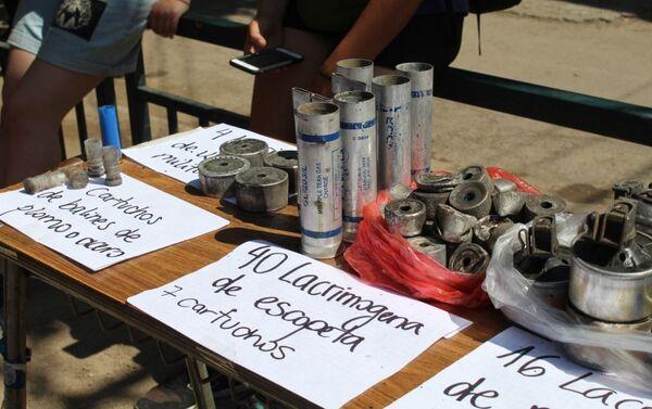 Material lanzado por carabineros en Lo Hermida, el  11 y 12 de noviembre de 2019 - Sputnik Mundo