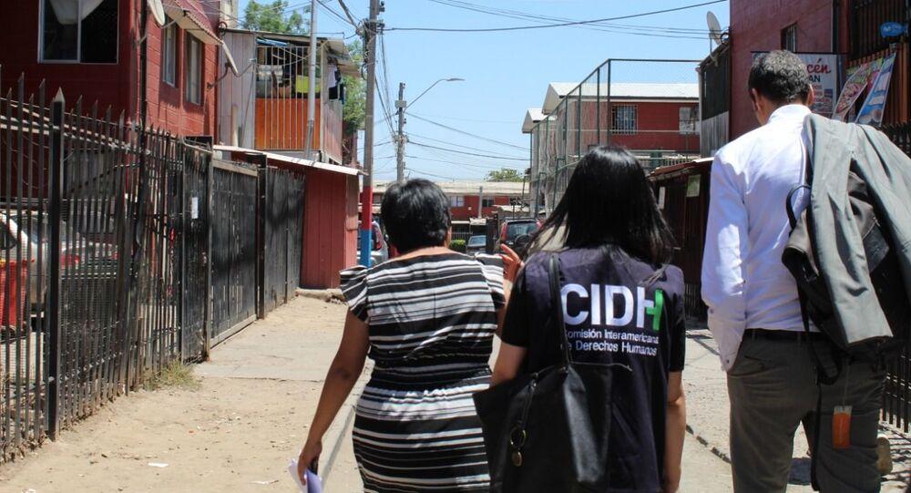 Visita de CIDH a la población de Lo Hermida, el 20 noviembre de 2019