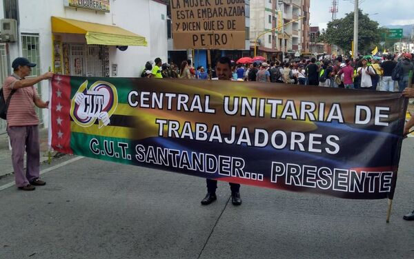 Manifestantes de la C.U.T. en Santander, Colombia - Sputnik Mundo