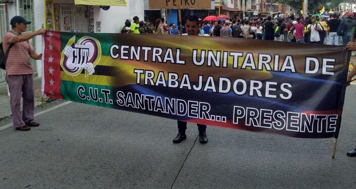 Manifestantes de la C.U.T. en Santander, Colombia