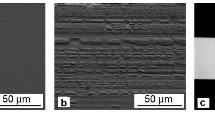 Imágenes típicas de superficies sin contacto (a) y de contacto (b) y sección transversal (c) de cintas de TiNiCu apagadas rápidamente (para la aleación con 34 a.% Cu)