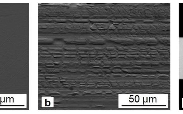 Imágenes típicas de superficies sin contacto (a) y de contacto (b) y sección transversal (c) de cintas de TiNiCu apagadas rápidamente (para la aleación con 34 a.% Cu) - Sputnik Mundo