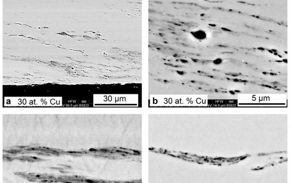 Sección transversal de las cintas de TiNiCu hiladas fundidas que contienen 30 a.% Cu (a, b), 34at.% Cu (c) y 38 a.% Cu (d) después de torsión a alta presión (HPT) a n = 5 - Sputnik Mundo