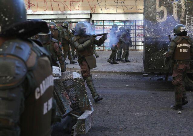 La Policía chilena durante las protestas