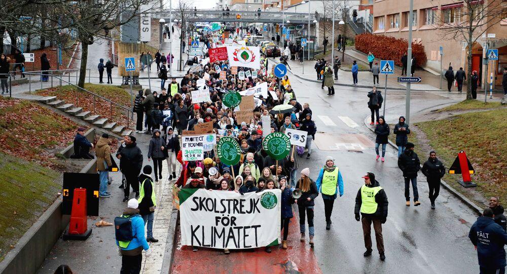 Una manifestación de Fridays for the Future en Estocolmo