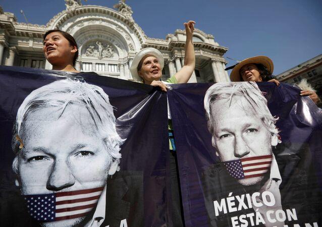 Seguidores de Julian Assange en México