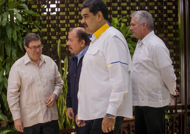 Bruno Rodriguez, Daniel Ortega, Nicolas Maduro y Miguel Diaz-Canel