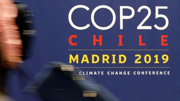 El logo de la COP25 en Madrid, España - Sputnik Mundo