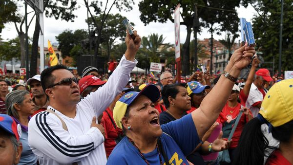 Celebración del 20 aniversario de la creación de la Constitución de Venezuela en Caracas - Sputnik Mundo