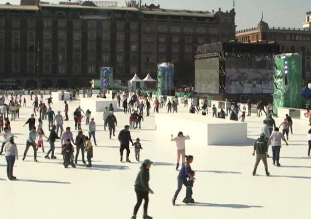 Pista de patinaje ecológica en Ciudad de México