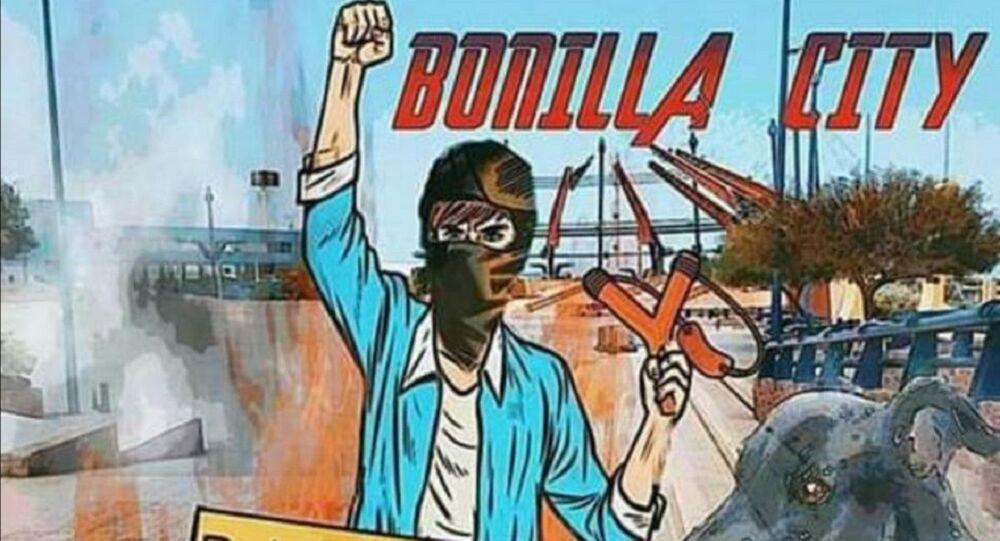 Pintura de Chalaman, uno de los símbolos de las manifestaciones en Chile