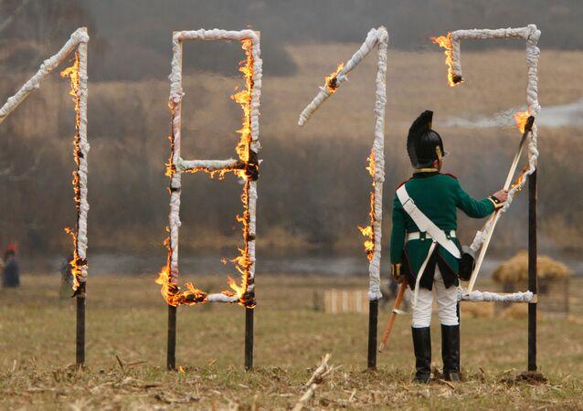 Reconstrucción de una batalla de la campaña de Napoleón en Rusia