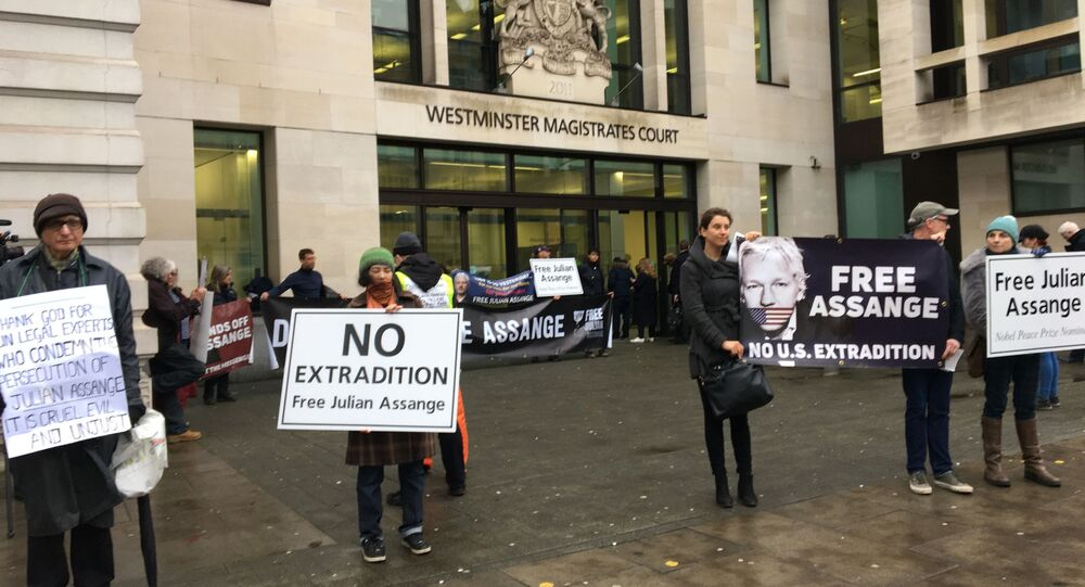Manifestación de los partidarios de Assange in London