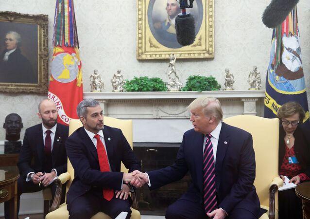 Donald Trump, presidente de EEUU, con su homólogo de Paraguay, Mario Abdo Benítez