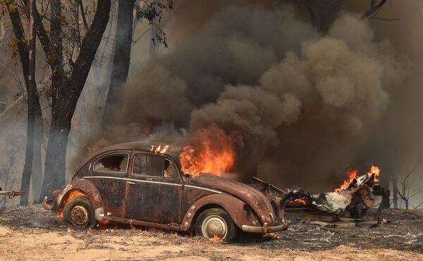 Машина, сгоревшая из-за лесных пожаров в Австралии - Sputnik Mundo