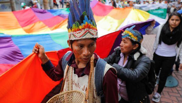 Indígenas con wiphala protestan en Bolivia - Sputnik Mundo