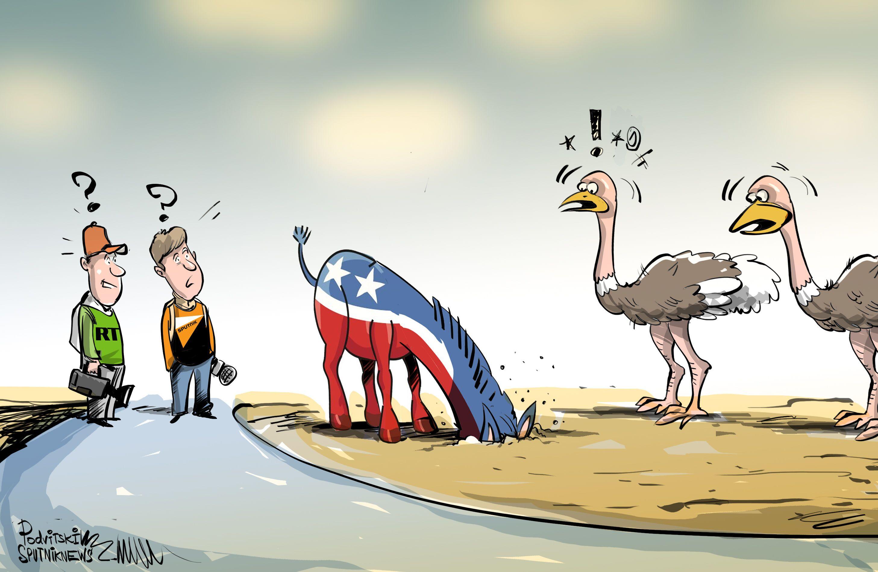 ¿Políticos o avestruces? El Partido Demócrata se esconde de Sputnik y RT