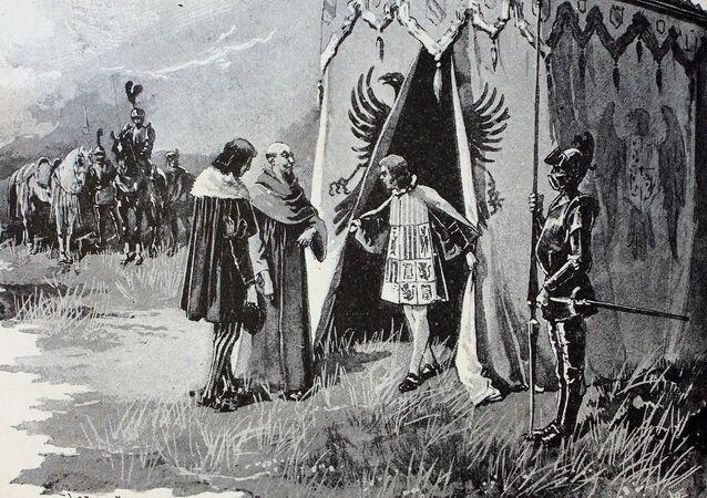 Colón en el Real de Santa Fé