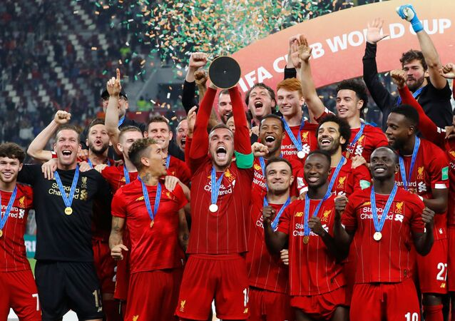 Los jugadores del Liverpool celebrando la victoria en el Mundial de Clubes 2019