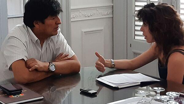 El expresidente boliviano Evo Morales durante la entrevista exclusiva con Sputnik - Sputnik Mundo