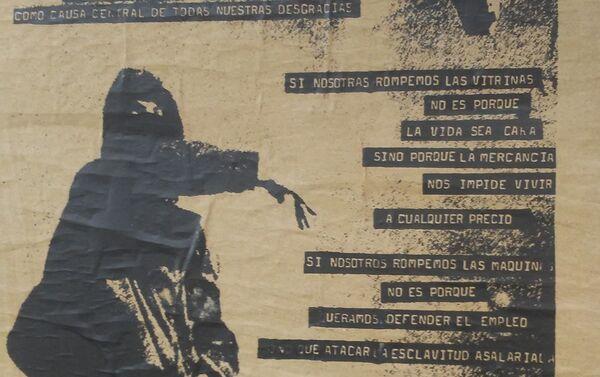 Afiche callejero en Chile - Arte de protesta - Sputnik Mundo
