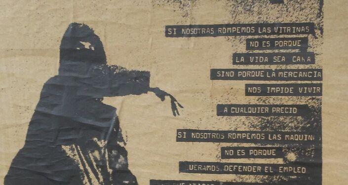 Afiche callejero en Chile - Arte de protesta