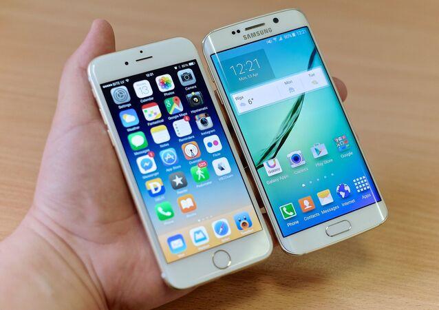 Teléfonos móviles de Apple y Samsung